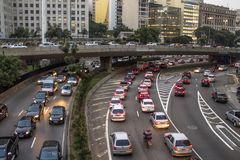 23 de Maio Avenue. Sao Paulo, Brazil, April, 26, 2013. Traffic jam at rush hour in May 23 Avenue of downtown Sao Paulo. This avenue connects the northern and Royalty Free Stock Images