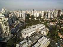 Sao Paulo, Brazil, August, 2017. Aerial view on Hospital das clinicas in Sao Paulo city stock images