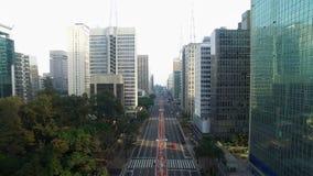 Sao Paulo, Brazil, August, 2017. Aerial view on Paulista Avenue, in Sao Paulo city.  stock video