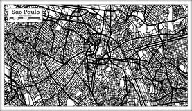 Sao Paulo Brazil City Map en color blanco y negro ilustración del vector