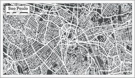 Sao Paulo Brazil City Map nel retro stile Illustrazione in bianco e nero di vettore illustrazione vettoriale