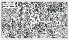 Sao Paulo Brazil City Map in Retro Style. Outline Map. Sao Paulo Brazil City Map in Retro Style. Vector Illustration. Outline Map Stock Image