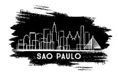 Sao Paulo Brazil City Skyline Silhouette Croquis tiré par la main illustration stock
