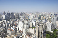 Sao Paulo Brazil Cityscape Skyline Vertical. Cityscape skyline of Sao Paulo Brazil features small pocket park of green trees Royalty Free Stock Images