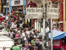 Consumers in 25 de Marco Street conner Porto Geral street in Sao Paulo. Sao Paulo, Brazil, December 11, 2018. Consumers in 25 de Marco Street conner Porto Geral stock photography