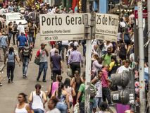 Consumers in 25 de Marco Street conner Porto Geral street in Sao Paulo. Sao Paulo, Brazil, December 11, 2018. Consumers in 25 de Marco Street conner Porto Geral stock images