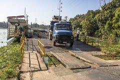 Truck exit of ferry boat. Sao Paulo, Brazil, February 16, 2017. Ferryboat crossing the Billings dam in Parelheiros neigborhood in south region of Sao Paulo stock photography