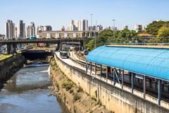 Tamanduatei River and bus lane. Sao Paulo, Brazil, February 23, 2017. Tamanduatei River and bus lane in downtown Sao Paulo Stock Image
