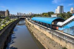 Tamandutei river and bus lane. Sao Paulo, Brazil, February 23, 2017. Tamanduatei River and bus lane in downtown Sao Paulo Royalty Free Stock Photo