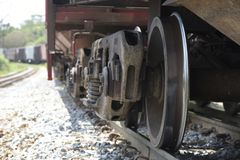 Close-up of train wheels Royalty Free Stock Images