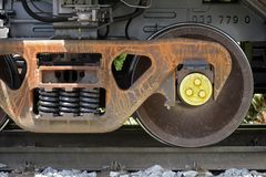 Close-up of train wheels Stock Photography