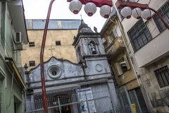 Chapel. Sao Paulo, Brazil, January 24, 2013, Facade of the Chapel of Nossa Senhora dos Alfitos, located in an alley in Students street, in Liberdade neighborhood Stock Image