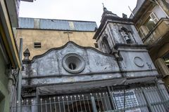 Chapel. Sao Paulo, Brazil, January 24, 2013, Facade of the Chapel of Nossa Senhora dos Alfitos, located in an alley in Students street, in Liberdade neighborhood Royalty Free Stock Photo