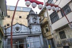 Chapel. Sao Paulo, Brazil, January 24, 2013, Facade of the Chapel of Nossa Senhora dos Alfitos, located in an alley in Students street, in Liberdade neighborhood Stock Photos