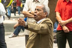 Evangelical preacher. Sao Paulo, Brazil, January 09, 2009. Man evangelical preacher explains God's Word in Se Square in downtown Sao Paulo royalty free stock photo