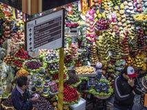 Kiosk of Municipal market. Sao Paulo, Brazil, June 16, 2018. People buying fruits at Municipal Market in downtown Sao Paulo, Brazil royalty free stock photography