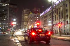 Taxi on street in downtwon Sao Paulo at night. Sao Paulo, Brazil, June 09, 2016. Taxi on street in downtwon Sao Paulo at night royalty free stock photos