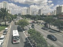 Radial Leste Avenue, in Sao Paulo, Brazil. Sao Paulo, Brazil - March 5, 2018: View of traffic on Radial Leste Avenue, the East-West connection, near station Royalty Free Stock Photography