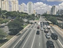 Radial Leste Avenue, in Sao Paulo, Brazil. Sao Paulo, Brazil - March 5, 2018: View of traffic on Radial Leste Avenue, the East-West connection, near station Royalty Free Stock Image
