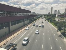 Radial Leste Avenue, in Sao Paulo, Brazil. Sao Paulo, Brazil - March 5, 2018: View of traffic on Radial Leste Avenue, the East-West connection, near station Stock Image