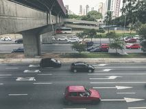 Radial Leste Avenue, in Sao Paulo, Brazil. Sao Paulo, Brazil - March 5, 2018: View of traffic on Radial Leste Avenue, the East-West connection, near station Royalty Free Stock Photo