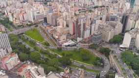 SAO PAULO, BRAZIL - MAY 3, 2018: Aerial View of the city centre Ground Zero square. Touristic place. SAO PAULO, BRAZIL - MAY 3, 2018: Aerial View city of the stock footage