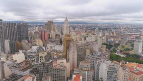 SAO PAULO, BRAZIL - MAY 3, 2018: Aerial View of the city centre Ground Zero square. Touristic place. SAO PAULO, BRAZIL - MAY 3, 2018: Aerial View city of the stock video footage