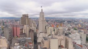 SAO PAULO, BRAZIL - MAY 3, 2018: Aerial View of the city centre Ground Zero square. Touristic place. SAO PAULO, BRAZIL - MAY 3, 2018: Aerial View city of the stock video
