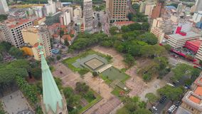 SAO PAULO, BRAZIL - MAY 3, 2018: Aerial View of Se Cathedral in the city centre stock video footage