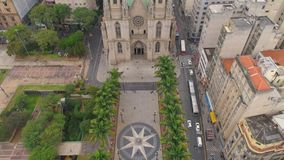 SAO PAULO, BRAZIL - MAY 3, 2018: Aerial View of Se Cathedral in the city centre stock footage