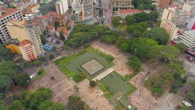 SAO PAULO, BRAZIL - MAY 3, 2018: Aerial View of Se Cathedral in the city centre stock video