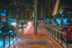 Paulista Avenue at night. bike path of paulista avenue. royalty free stock photos