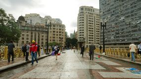 SAO PAULO, BRAZIL - MAY 16, 2019: people crossing the Santa Ifigenia viaduct on downtown for exclusive use of pedestrians.  royalty free stock photography