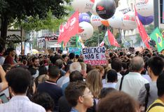 Sao Paulo/Sao Paulo/Brazil - may 15 2019 popular political manifestation against lack of budget on education affecting. Sao Paulo/Sao Paulo/Brazil - may 15 2019 stock photo