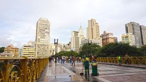 SAO PAULO, BRAZIL - MAY 16, 2019: Santa Ifigenia viaduct on downtown for exclusive use of pedestrians.  stock photography