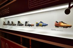 The museum of Football is a space devoted to the different subjects involving the practice, the history and cur, Sao Paulo, Brazi royalty free stock image