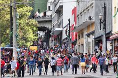 Sao Paulo, Brazil. OCTOBER 6, 2014: People shop at Rua General Carneiro in Sao Paulo. With 21.2 million people Sao Paulo metropolitan area is the 8th most stock images