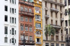 Sao Paulo. Brazil - old residential architecture street view Royalty Free Stock Photos