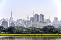 Sao Paulo (Brazil) Park and skyscrapers Stock Image