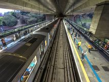 Movement of trains and passengers in Sumare station. Sao Paulo, Brazil, september 11, 2018: Movement of trains and passengers in Sumare station, the 2 Green stock image