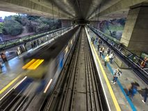 Movement of trains and passengers in Sumare station. Sao Paulo, Brazil, september 11, 2018: Movement of trains and passengers in Sumare station, the 2 Green stock photos