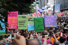 Sao Paulo/Sao Paulo/Brazil - may 15 2019 popular political manifestation against lack of budget on education affecting
