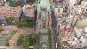 SAO PAULO BRAZYLIA, MAJ, - 3, 2018: Widok Z Lotu Ptaka Se katedra w centrum miasta zbiory