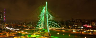 Sao Paulo bridge at night Royalty Free Stock Photos