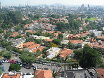 Sao Paulo city. Aerial view of Sao Paulo city with Pacaembu quarter in foreground, Brazil Stock Photos