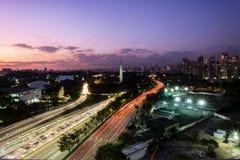 Free Sao Paulo City At Nightfall, Brazil Ibirapuera Park - Obelisk. Royalty Free Stock Photos - 127394148