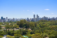 Sao Paulo city, Brazil. Ibirapuera Park. View of houses and buildings next to the Ibirapuera Park in the city of Sao Paulo, Brazil Stock Images