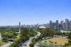 Sao Paulo city, Brazil. Ibirapuera Park. View of Ibirapuera Park, obelisk and building of the city of Sao Paulo in sunny afternoon. Brazil Stock Photography