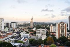 Sao Paulo city Brazil. Skyline seen from Pinheiros neighborhood near Largo da Batata royalty free stock images