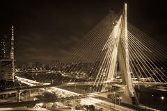 Sao Paulo city bridge at night Royalty Free Stock Photos
